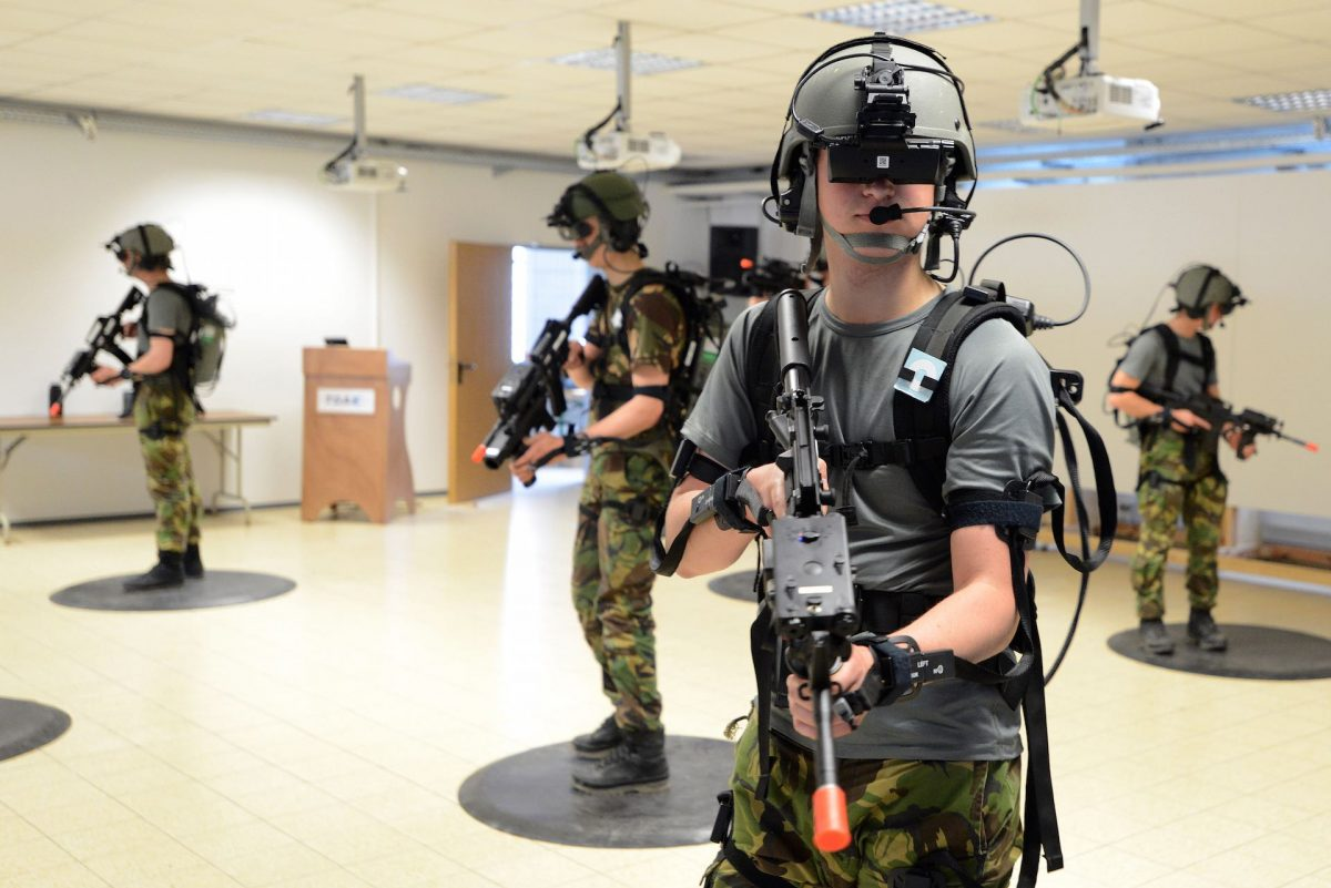 Soldiers with the Royal Netherlands Army conduct training in Dismounted Soldier Training Systems at the 7th Army Joint Multinational Training Command, Grafenwoehr, Germany, June 5, 2013. The DSTS is the first fully-immersive virtual simulation for infantry. (U.S. Army photo by Gertrud Zach/released)