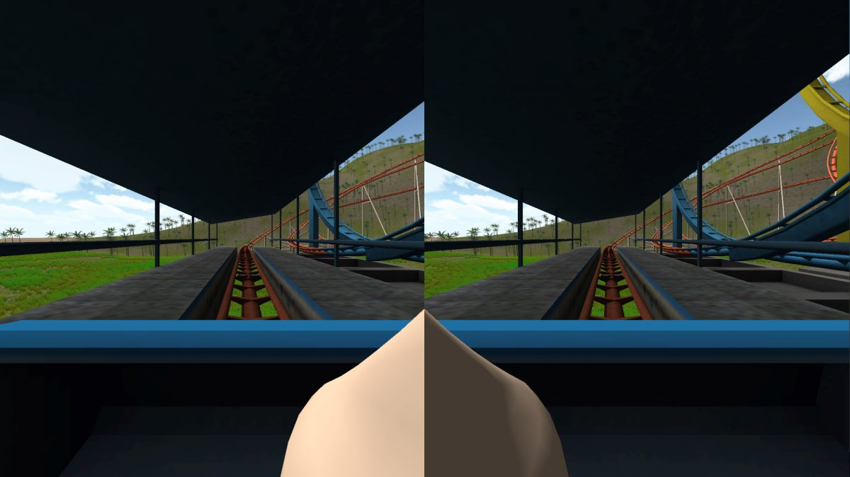 "Virtual reality games often cause simulator sickness – inducing vertigo and sometimes nausea - but new research findings point to a potential strategy to ease the affliction: insert an image of a virtual human nose, or ""nasum virtualis,"" into the center of the video display. This screenshot is from one application where the user rides a roller coaster. Findings suggest the virtual nose reduces simulator sickness. (Purdue University image)"